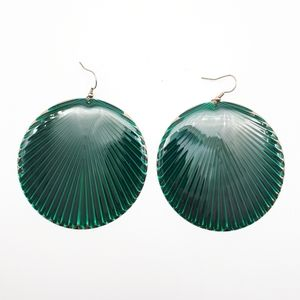 Teal lacquered disc earrings